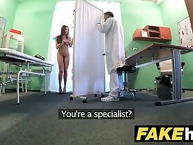 Fake Hospital Tall brunette patient with natural tits swallows docs cum