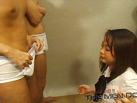 Bukkake Highschool Lesson Japanese blowjob