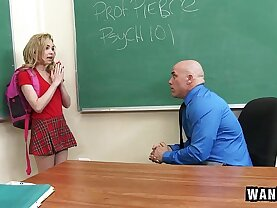 WANKZ Teen brunette Gets Creampied By Teacher!
