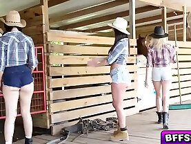 Hot farm babes awesome threesome fuck