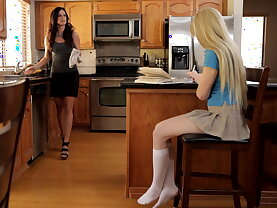 Study session turns sexual, in the kitchen